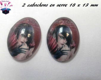 2 cabochons glass 18mm x 13mm 30 year theme