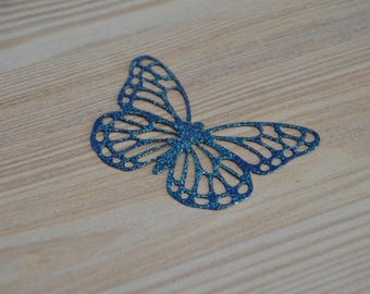 Set of 15 glitter butterflies Midnight blue to decorative table, scrapbooking...