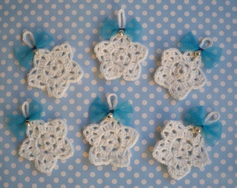 """Christmas ornament - Star Snowdrop off-white/silver collection """"snowflakes""""."""