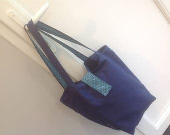 Large tote bag lined in canvas and Japanese fabric
