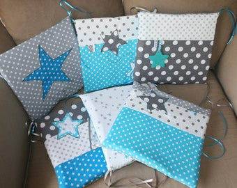 Bed size 6 turquoise pillows / white/gray to order