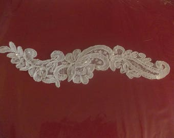 Embroidery applique was sew white with small white pearls and sparkly sequins