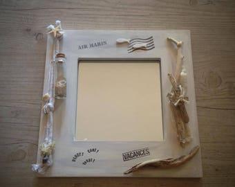 Square wall mirror Driftwood No. 2