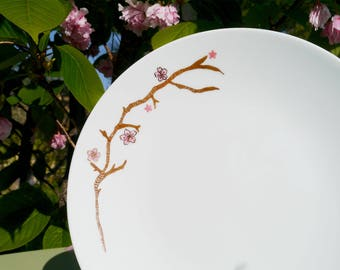 Hanami floral plate and Japanese cherry branch Limoges porcelain