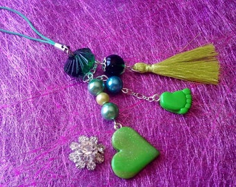 Jewelry bag or key chain Green