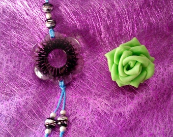 black and clear Flower necklace