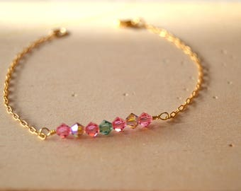 Bracelet gold plated Swarovski Crystal beads