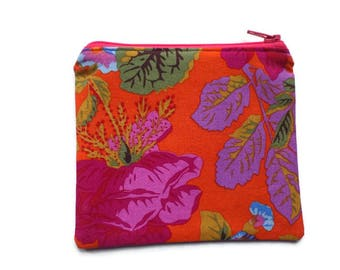 Floral Makeup Pouch, Cards Holder, Toiletries Bag, Zippered and Lined