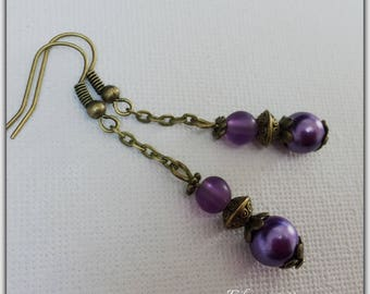 Purple and bronze glass beads earrings