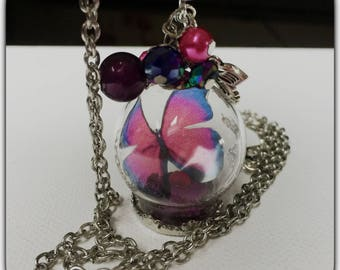 Necklace glass globe and butterfly, fuchsia purple
