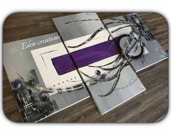 Grey purple contemporary painting, triptych, wall painting, home deco