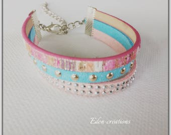 leather and suede studded bracelet, pink bracelet