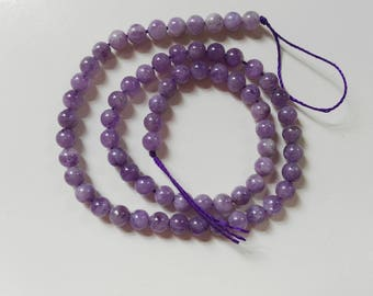 Natural light purple jade beads 6mm