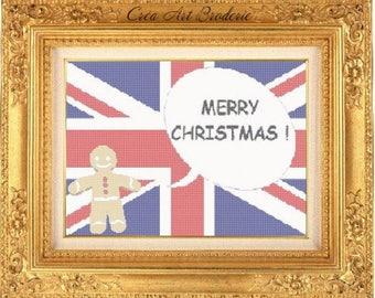 Grille point de croix compté drapeau anglais Merry Christmas