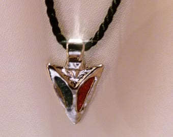 Enamel arrow tip cord necklace with silver clasp