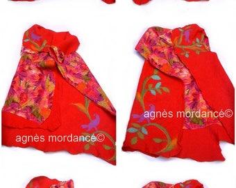 "Vest silk felted reversible 2 in 1 ""Aria"" - felted Merino silk chiffon - OOAK"