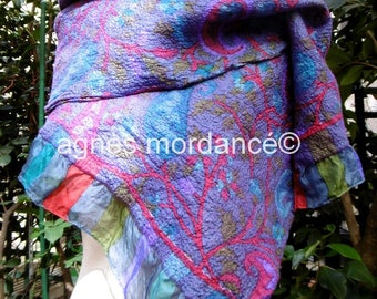 "Scarf silk ""Paisley"" 145X40cm Merino - unique felted silk chiffon """