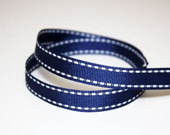 Navy Blue grosgrain Ribbon and white 12 mm, 1 m, Navy Blue Ribbon with white yarn