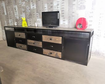 Furniture industrial tv blackened steel and gray tree