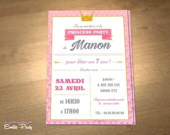 Personalized printable birthday invitation theme: Princess!