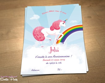 Customizable printable themed birthday invitation: Rainbow Unicorn