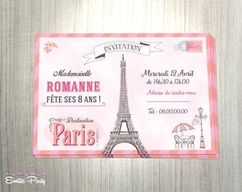 Customizable printable themed birthday invitation: retro Paris
