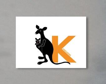 Letter card - 'K' as in Kangaroo