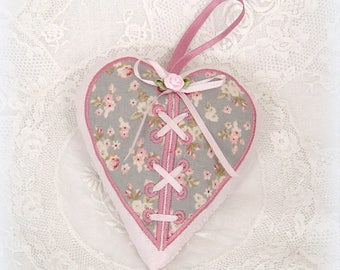 Embroidered heart hanging scented with Lavender flowers