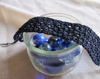 Perforated Navy blue cotton woman bracelet