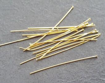 50 head pins flat metal gold fine 0.8 mm x 32 mm