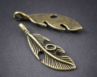 2 pcs - bronze metal charms feathers, leaves - 37mm x 11mm
