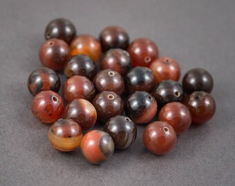 Set of 4 pcs - round beads orange, Brown, black • • • agate veins, color natural • 14mm