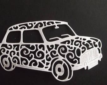 "Set of 10 white cuts ""car"" for your scrapbooking creations."
