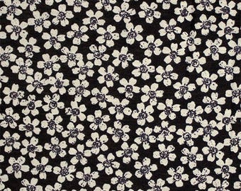 Taupe Daisy on Black Cotton Jersey Blend Knit Fabric **UK Seller**