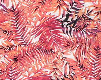 Pink Purple Palm Leaves Slub Cotton Jersey Blend Knit Fabric **UK Seller**
