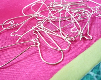 25 pairs earrings long 27mm (bo7) silver tone hooks