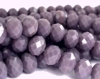 Purple: 20 glass beads, abacus 6x8mm (pv502)