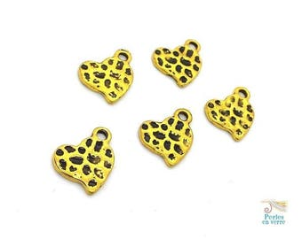 10 hearts charms metal bronzed without nickel, hammered gold effect antique13x16mm (bre502)