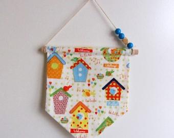 "Decorative banner ""birdhouses and birds"""