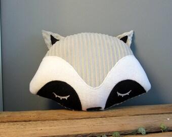 Grey raccoon striped soft decorative pillow