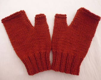 Knit fingerless mittens hand knitted rust color