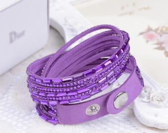 Purple 1 bracelet MULTISTRAND rhinestone colours within 15 days