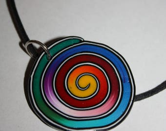 colorful spiral polymer clay necklace