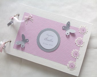 Baptism, flowers and butterflies guest book