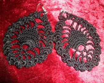 Black drop earrings with crochet pattern