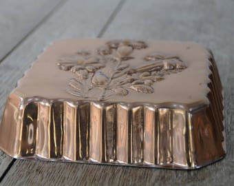 Vintage Copper Jelly Mould Square Tin with Flower Design ~ Kitchen Wall Hanging Made in Portugal