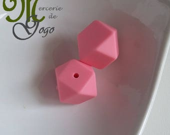 Pearl silicone Hexagon 1.7 * 1.7 cm light pink.