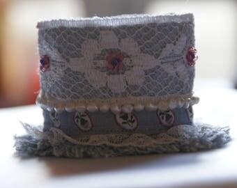 Denim CUFF BRACELET beads and lace
