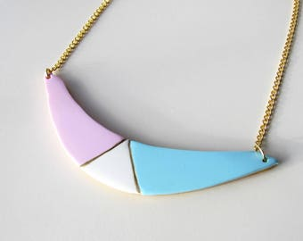 Geometric pastel polymer clay and chain necklace gold