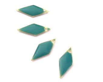 4 sequins losange émaillé vert émeraude, 20mm, émail bifaces / recto-verso
